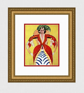 "Marvelous 1948 MATISSE Antique Print ""Woman Seated, Red Dress"" SIGNED Framed COA"