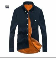 Men Fine Cotton Wool Warm Long Sleeves Shirts Buttons Closure Turn Down Collar