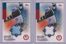 (2) 2014 TOPPS OLYMPIC AMY PURDY RELIC CARDS ~ BLUE & WHITE ~ SNOWBOARDING ~QNTY