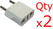 Europe 4mm Round Pin Plug Adapter 2 pK US USA to EU European Plug
