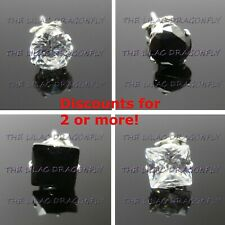 1x Mens SINGLE 925 Sterling Silver Cubic Zirconia CZ Diamante Stud Earring UK