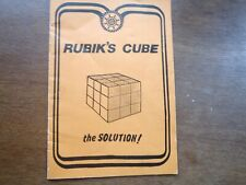 """ORIGINAL VINTAGE EARLY 1980s """"RUBIK'S CUBE (THE SOLUTION)"""" 12 page pamphlet."""