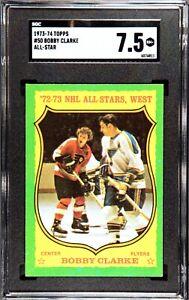 1973-74 Topps Hockey #50 Bobby Clark, HOF, Philadelphia Flyers, SGC 7.5, NM+