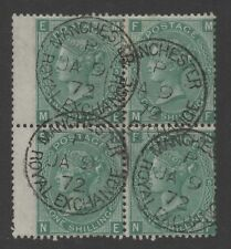 Vic - SG117. 1s green (Plate 5). Block x 4 with MANCHESTER ROYAL EXCHANGE CDS.