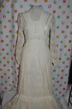 WOMENS 11/12 Long  VINTAGE 70's  WHITE lace  HIPPIE WEDDING bridesmaid DRESS