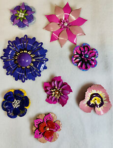 enamel flower pin brooch lot