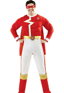 Arsenal Superhero Red & Gold Costume Mens Boys Fancy Dress Cape Full Costume