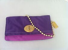 NWT COACH AMANDA SATIN  EVENING BAG CLUTCH PURSE F12926 PLUM