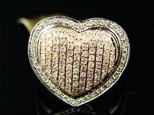 Womens 19 Mm Rose Gold Diamond Promise Love Heart Ring