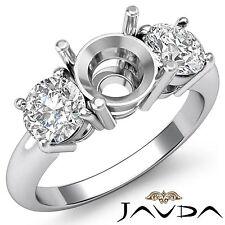 3 Stone Engagement Ring Round Natural Diamond Semi Mount 18k White Gold 0.75Ct