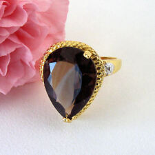 9 Ct Pear Shaped Smoky Topaz Diamond Ring 925 Sterling Silver 14K Vermeil Size 8