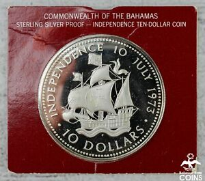 1973 Bahamas $10 Sterling Silver Proof Coin w/COA & OGP KM#42 ASW 1.47oz
