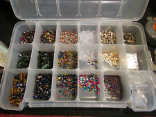 Bead Storage Container With Assortment Of Beads Clasps, AKRO-Mils, more