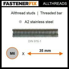 M6 x 35 mm allthread A2 stainless studs, threaded bar to DIN 976-1 (150 pack)