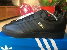 Adidas Gazelle Black Leather Size 8 80s Retro Football Casuals BNIB Deadstock