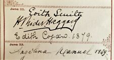 H. Rider Haggard. Genuine Signature c.1882. Very Rare Autograph. Famed Author.