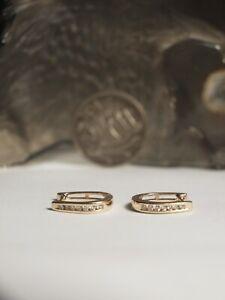 GENUINE MHJ 10K YELLOW GOLD LADIES NATURAL DIAMOND HUGGIE EARRINGS