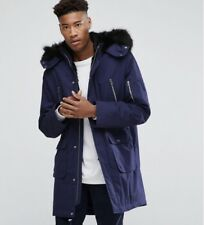 Tall XL Size Blue Parka With Faux Fur ( For Tall Man 6'5-6'9)
