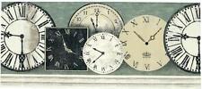 COUNTRY FOLKART RUSTIC WORLD CLOCKS TICK TOCK TIMELESS TIME WALLPAPER BORDER