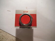 """RED PRESS BUTTON SWITCH WITH 1 CONTACT BLOCK AND """"STOP"""" LEGEND PLATE"""