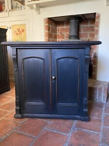 Small Solid Oak Gustavian Style Black Painted Hall Cupboard Cabinet Sideboard