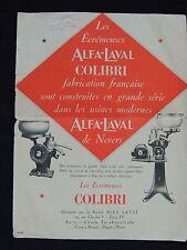 Publicité / prospectus. écrémeuses Alfa-Laval, colibri. Nevers. Fournial Rennes