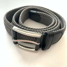 NWT! Bermuda Styles Men's Sz L (36-38) Gray Stretch Belt Genuine Leather Accents