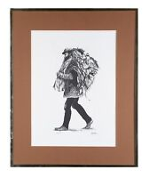 """Untitled"" (Hobo) Limited Edition Lithograph by Laura Cobos, Framed 21x17"""