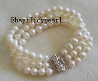 Perle Armband, 3 Reihen 7-8mm weiß Süßwasser Perle Armband