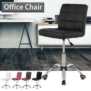 Modern Office Chair Computer Desk Small Adjustable PU Leather Swivel Fabric Home