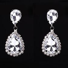 Crystal Drop Earrings Diamante Bridal Rhinestone Silver Dangle Wedding Prom Gem