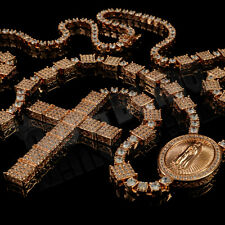 18K Rose Gold Micro Pave CZ Iced Out ROSARY Jesus Cross Pendant Necklace Chain