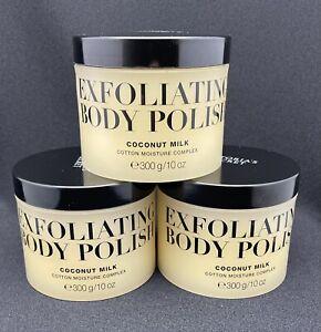 x3 Victoria's Secret Exfoliating Body Polish COCONUT MILK Moisture 10 oz., NEW
