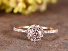 Ct Round Cut Pink Simulant Morganite Diamond Engagement Ring Silver Rose Gold FN
