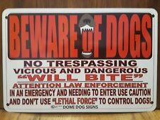 "Metal Warning Dogs Sign For FENCE ,Beware Of Dog 8""x12"" will bite ,may bite"
