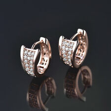HUCHE Retro Yellow Gold Filled Diamond Clear Sapphire Lady Party Huggies Earring