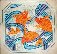 MZC Vintage Zubris Oriental Koi Fish HP Hand Painted Needlepoint Canvas