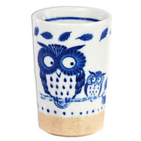 "Japanese Porcelain 4.5"" H Sushi Tea Cup Mug/ FUKURO Owl /Made in Japan"