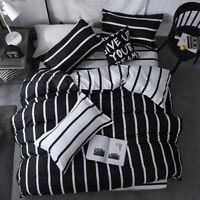 Stripe White Black Bedding Set Duvet Quilt Cover+Sheet+Pillow Case Four-Piece