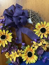 Grapevine Wreath Sunflowers Purple Flowers