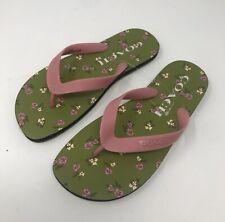 Brand New Coach Women's Size 6 Green Floral Rubber Sandal Flip Flops