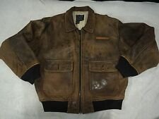 VTG🇺🇸 Avirex Brown Leather Type G-1 Pin-Up Bomber Flight Ace Jacket 1980's  L