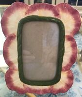 """Flower Shaped Ceramic standing picture frame 2 3/4"""" X 4 3/4"""" picture opening"""