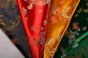 "36"" DAMASK JACQUARD BROCADE FABRIC : CHINA DRAGON & PHOENIX BY METER WHOLESALE"