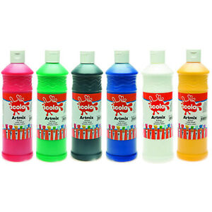 6 x 600 ml Scola Artmix Ready Mixed Poster Paint Assorted Kids Washable Paint