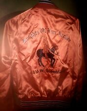 Vintage SATIN JACKET 1960's KNIGHTS OF FUN ARCADE Great Cool LOGO Adult SMALL