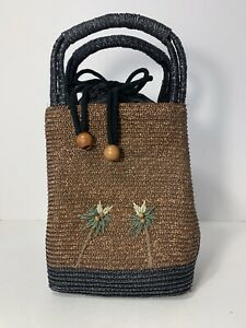 Tommy Bahama Hand Bag Purse Brown Black Straw Raffia Embroidered Coconut Trees