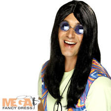 Long Black Hippie Wig Mens Fancy Dress 60s 70s Hippy Adults Costume Accessory