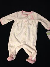 CARTER'S 3M COMFORT WEAR 1-PC W/FEET WHITE/PINK HEARTS TERRY FABRIC SNAP UP NWT