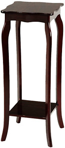 Tall Plant Stand Pedestal with Shelf Vase Display Square Table Living Room Hall